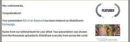 Notification from slideshare.net that our presentation is featured on home page
