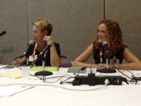 Tara and Gwen on speaker panel talking social strategy