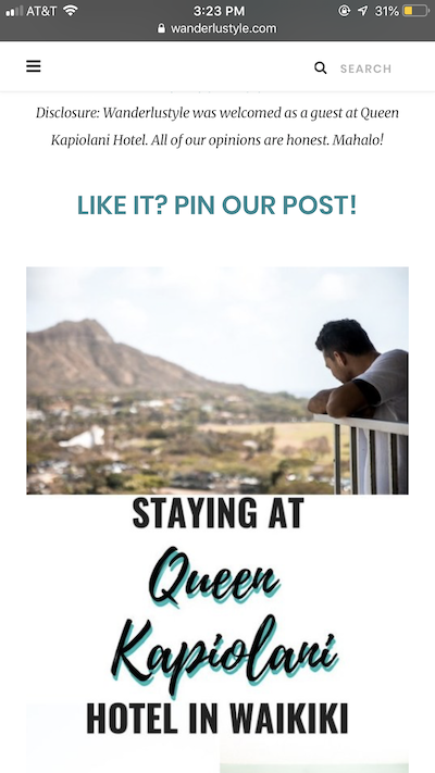 screenshot of a sponsored blog post featuring a man in Oahu looking out from a balcony with Diamond Head in the distance