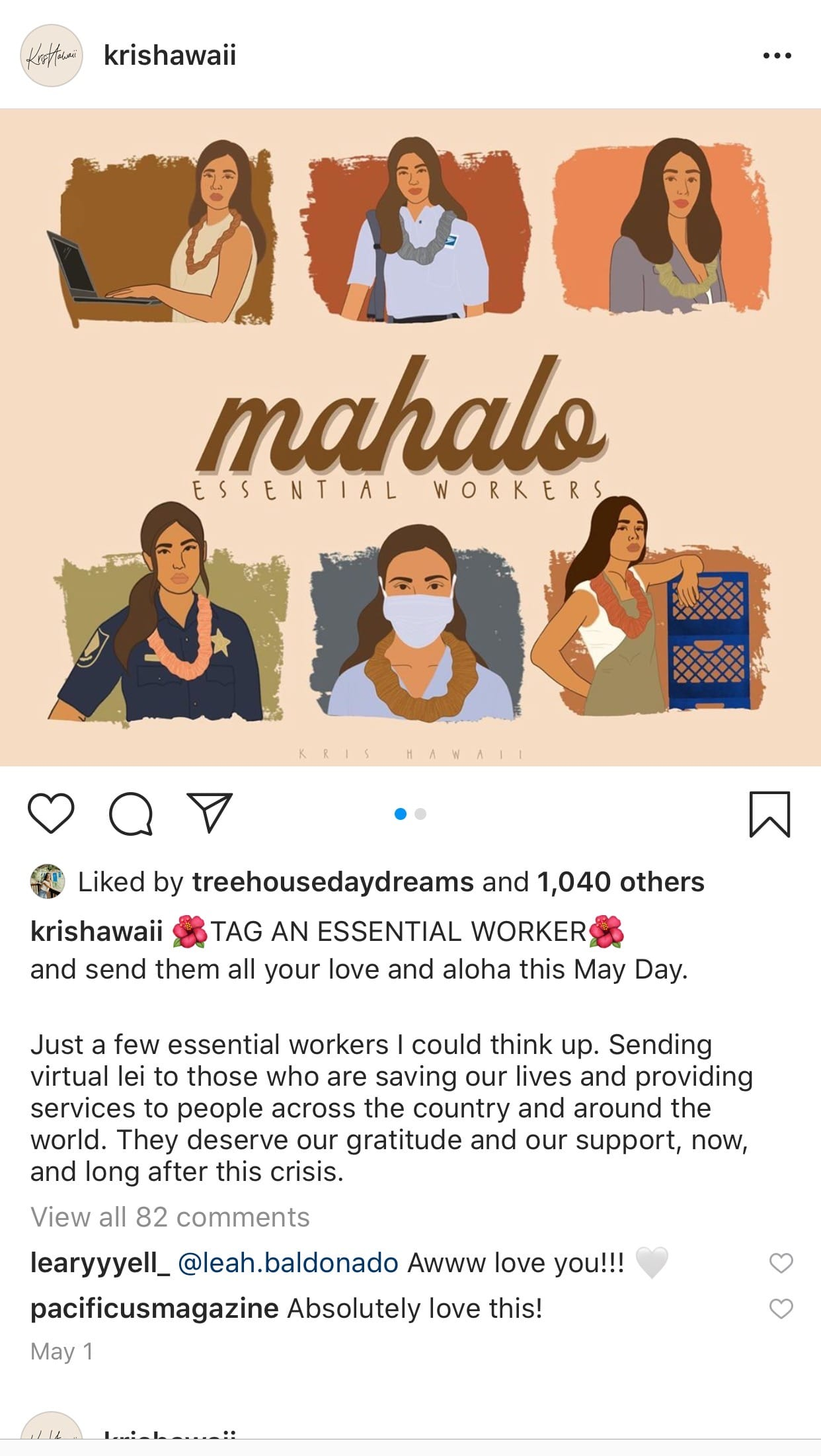 artwork by kris hawaii expressing thanks to essential workers
