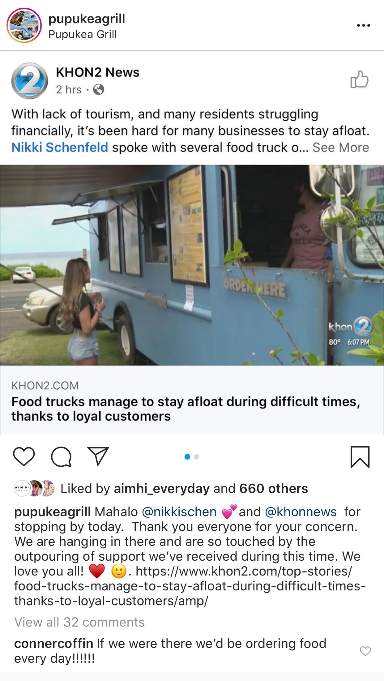 instagram post showcasing news article about food trucks staying afloat amid pandemic
